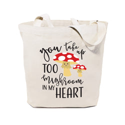 You Take Too Mushroom In My Heart Cotton Canvas Tote Bag - The Cotton and Canvas Co.