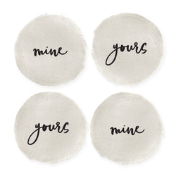 Mine and Yours Cotton Canvas Drink Coasters, Set of 4 - The Cotton and Canvas Co.