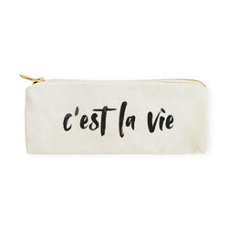 C'est La Vie Cotton Canvas Pencil Case and Travel Pouch - The Cotton and Canvas Co.