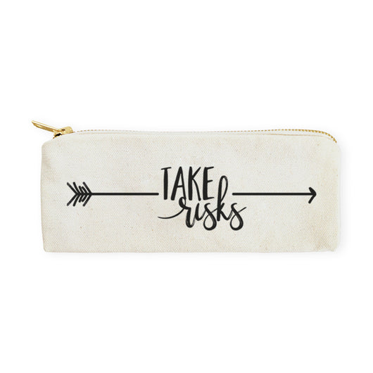 Take Risks Cotton Canvas Pencil Case and Travel Pouch