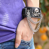 Black Leather Skull Chain Bracelet - Win N Win