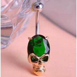 Diamond Skeleton Skull Belly Ring - Win N Win