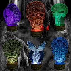 3D Sugar Skull Hologram Illusion Desk Lamp