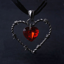 Gothic Punk Heart Crystal  Necklace - Win N Win