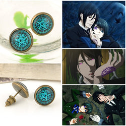 Cosplay Kuroshitsuji Japan Anime Black Stud Earrings - Win N Win