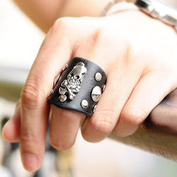Genuine Leather Studs Ring Rock