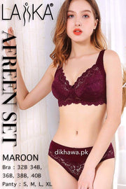 Laika - Afreen Set - Maroon Fancy Bridal Bra Panty Sets - Non Padded Non Wired Bra Panty Set