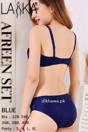 Laika - Afreen Set - Navy Blue Fancy Bridal Bra Panty Sets - Non Padded Non Wired Bra Panty Set