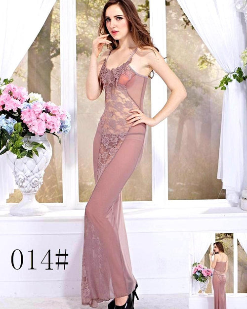 Bridal Sexy See Through Long Lace Nighty - 014