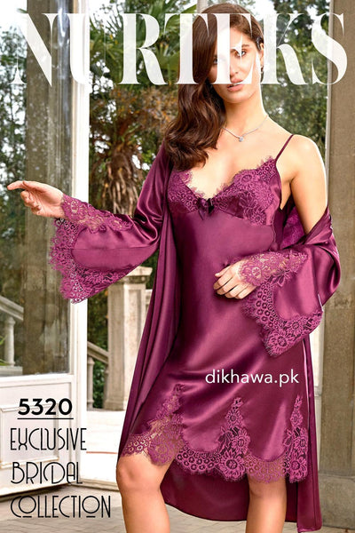Nurteks - Exclusive Bridal Wedding Honeymoon 2Pc Short Nighty Set Maroon 5320 - Turkish Brand