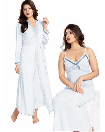 White Nighty - FL-0069 - Flourish 2 Piece Nightwear