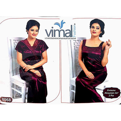Buy 2 Pcs Nighty Set with Gown - V8068 - Satin Silk Nighty By Vimal Fashion Online in Karachi, Lahore, Islamabad, Pakistan, Rs.1800.00, Ladies Nighty Sets Online Shopping in Pakistan, Vimal Fashion, 3pc Bridal set nighty in pakistan, best Nightwear Brands in pakistan, best Nighty Brands in pakistan, Brand_Vimal Fashion, Branded Nightwear, branded nighty, Bridal Nighty, Clothing, Colour_Magenta, Honeymoon Nighty, imported nighty, Ladies Nightwear, ladies Nightwear pakistan, Ladies Nighty, ladies undergarment pakistan, Lingerie & Nightwear, long nighty, Material_Satin, Material_Silk, Nightwear, Nightwear Online Shopping, Nightwear online shopping in pakistan, Nightwear pakistan, Nightwear sho, Online Shopping in Pakistan - NIGHTYnight