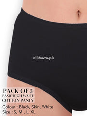 Basic High Waist Cotton Panty Pack of 3 - FL-512 - Black Skin & White