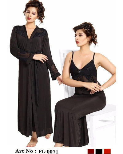 Black Nighty - FL-0071 - Flourish 2 Piece Nightwear