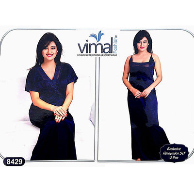2 Pcs Nighty Set with Gown - V8429 - Satin Silk Nighty By Vimal Fashion - Nighty Sets - diKHAWA Online Shopping in Pakistan