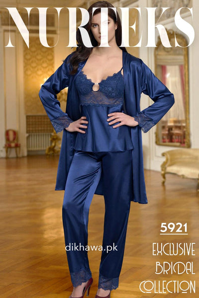 Nurteks - Exclusive Bridal Wedding Honeymoon 3Pc Nightdress & Pajama Set Royal Blue 5921 - Turkish Brand