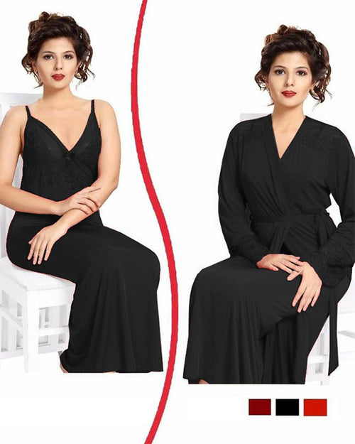 Black Nighty - FL-0074 - Flourish 2 Piece Nightwear