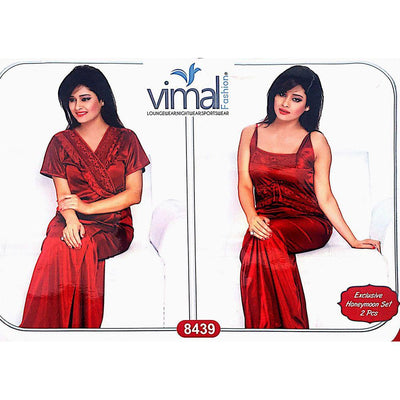 2 Pcs Maroon Nighty Set with Gown - V8439 - Satin Silk Nighty By Vimal Fashion - Nighty Sets - diKHAWA Online Shopping in Pakistan