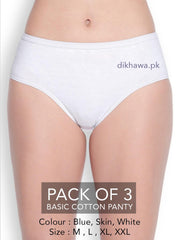 Buy Basic Cotton Panty Pack of 3 - FL-519 - Blue Skin & White Online in Karachi, Lahore, Islamabad, Pakistan, Rs.999.00, Ladies Panty & Thong Online Shopping in Pakistan, Flourish, Brand_Flourish, Clothing, Collection_2020, Collection_2021, Collection_Basic, Collection_Casual, Collection_Formal, Collection_On Sale, Collection_Semi-Formal, Colour_Blue, Colour_Skin, Colour_White, Deal_Pack of 3, Lingerie & Nightwear, Material_Cotton, Panty, Panty & Thong, Size_Large, Size_Medium, Size_X-Large, Size_XX-Large, Style_Basic Panty, Style_Cotton Panty, Style_Daily Wear Panty, Style_Jersey Panty, Style_Regular Panty, Style_Stretchable Panty, Type_Clothing, Type_Lingerie & Nightwear, Online Shopping in Pakistan - NIGHTYnight