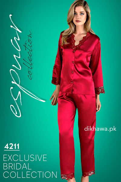 Espuar - Exclusive Bridal Wedding Honeymoon 2Pc Nightdress & Pajama Set Maroon 4211 - Turkish Brand