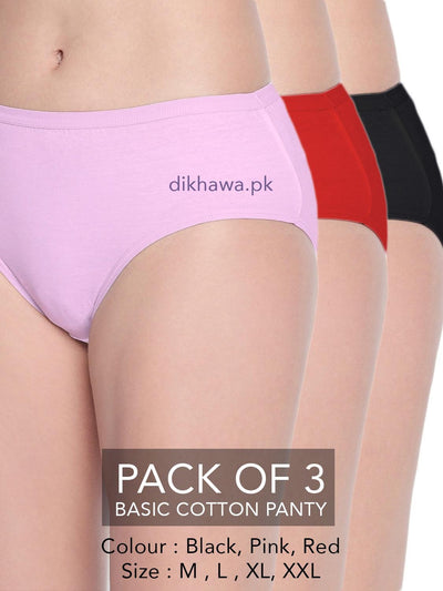 Basic Cotton Panty Pack of 3 - FL-519 - Black Pink & Red