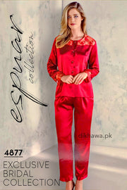 Espuar - Exclusive Bridal Wedding Honeymoon 2Pc Nightdress & Pajama Set Maroon 4877 - Turkish Brand