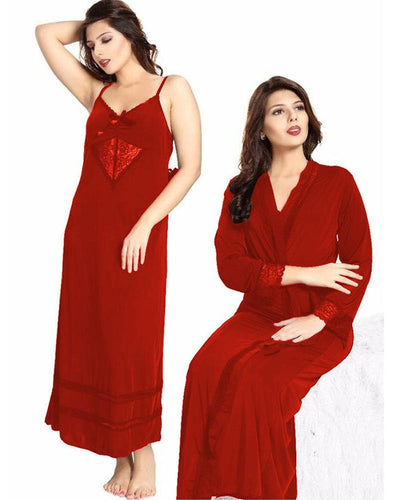 Red Nighty - FL-0077 - Flourish 2 Piece Nightwear
