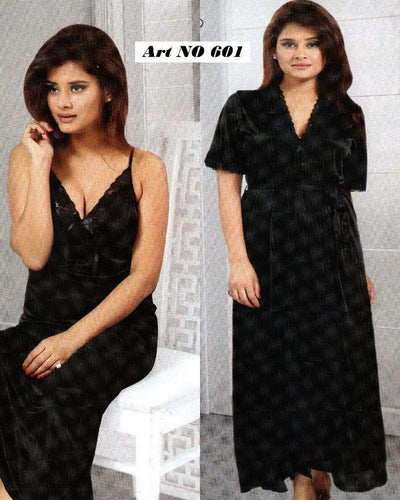 Honeymoon Nighty - FL-601 - Black Flourish 2 Piece Nightwear