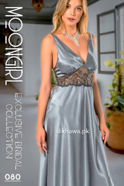 Moongirl - Exclusive Bridal 2Pc Long Nighty Set with Robe - Wedding Nightwear 080 - Turkish Brand