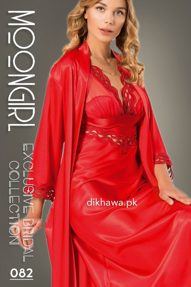 Moongirl - Exclusive Bridal 2Pc Long Nighty Set with Robe - Wedding Nightwear 082 - Turkish Brand
