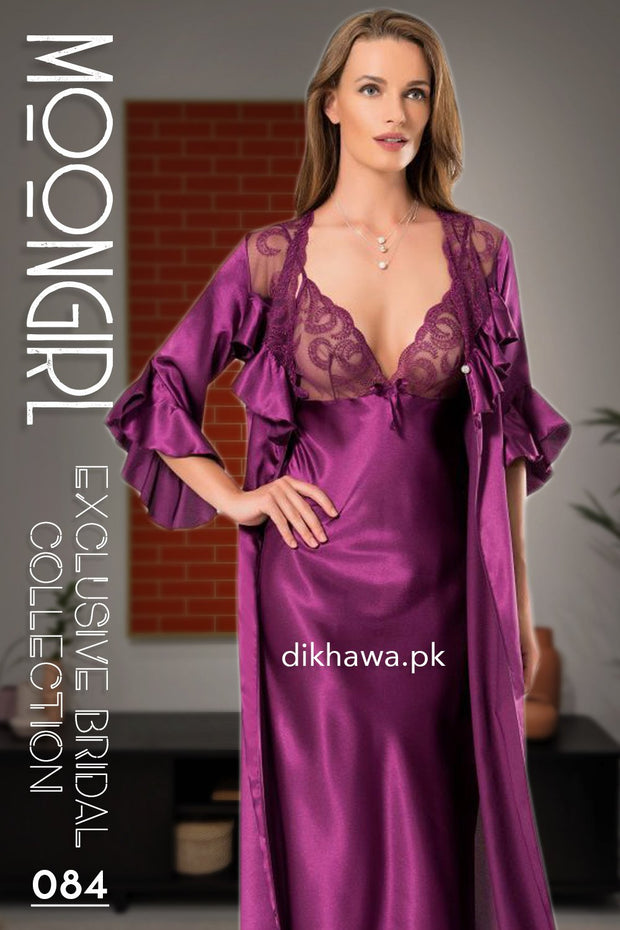 Moongirl - Exclusive Bridal 2Pc Long Nighty Set with Robe - Wedding Nighty Set 084 - Turkish Brand