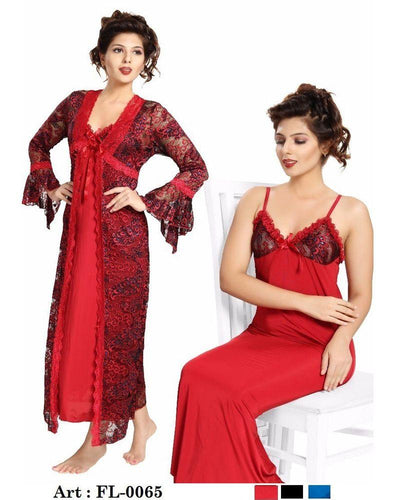 Bridal Red Nighty - FL-0065 - Flourish 2 Piece Nightwear