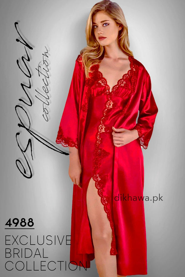 Espuar - Exclusive Bridal Wedding Honeymoon 2Pc Long Nighty Set with Robe Maroon 4988 - Turkish Brand