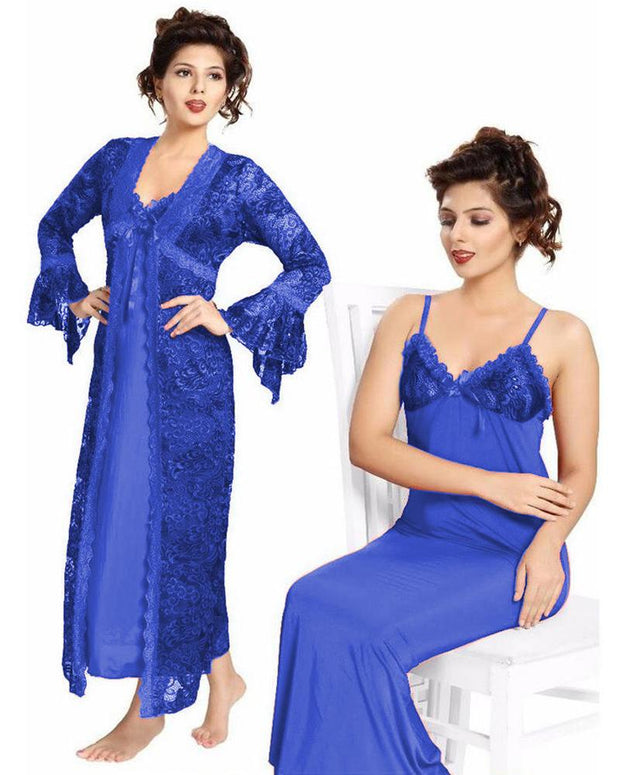 Bridal Blue Nighty - FL-0065 - Flourish 2 Piece Nightwear