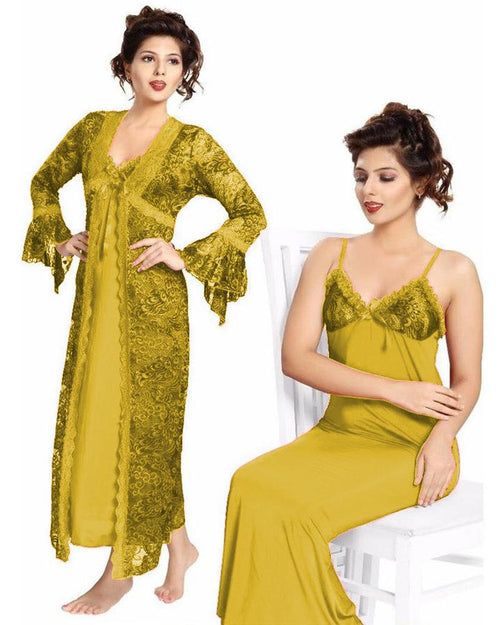 Bridal Golden Nighty - FL-0065 - Flourish 2 Piece Nightwear