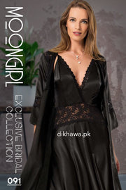 Moongirl - Exclusive Bridal 2Pc Long Nighty Set with Robe - Wedding Nighty Set 091 - Turkish Brand