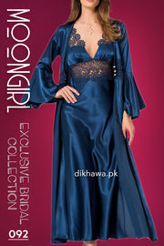 Moongirl - Exclusive Bridal 2Pc Long Nighty Set with Robe - Wedding Nighty Set 092 - Turkish Brand