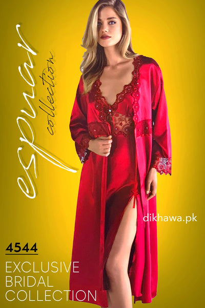 Espuar - Exclusive Bridal Wedding Honeymoon 2Pc Long Nighty Set with Robe Maroon 4544 - Turkish Brand