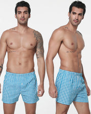Pack of 2 - Mens Boxer Shorts - Woven Cotton Boxers