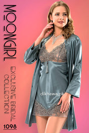 Moongirl - Exclusive Bridal 2Pc Short Nighty Wedding Honeymoon Nighty Set 1098 - Turkish Brand