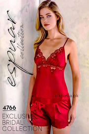 Espuar - Exclusive Bridal Wedding Honeymoon 2Pc Short Nighty Cami Set Maroon 4766 - Turkish Brand