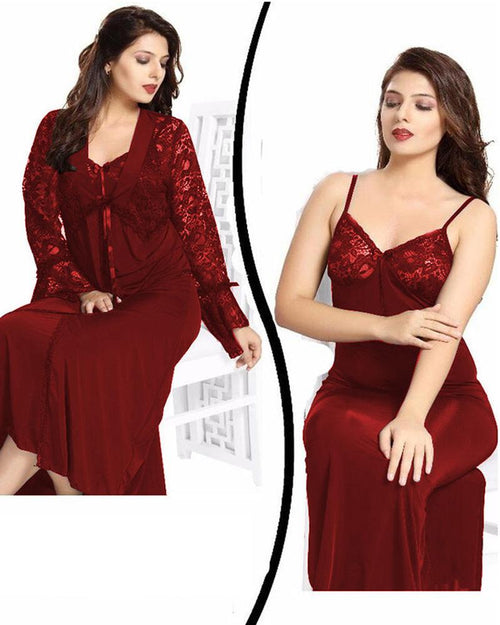 Wedding Nighty - FL-0078 Maroon - Flourish 2 Piece Nightwear