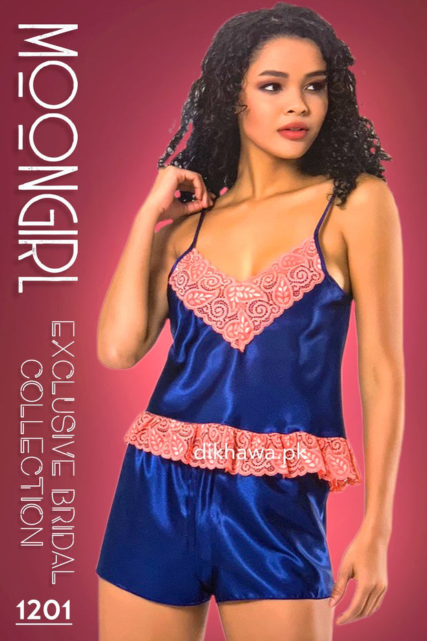 Moongirl - Exclusive Bridal 2Pc Short Nighty Cami Set & Wedding Nighty 1201 - Turkish Brand