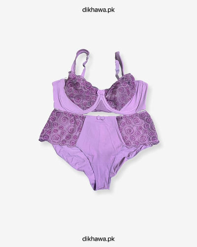 Sexy Bridal Net Lingerie Bra Panty Set - Rose Bra Panty Set - Purple- 2021