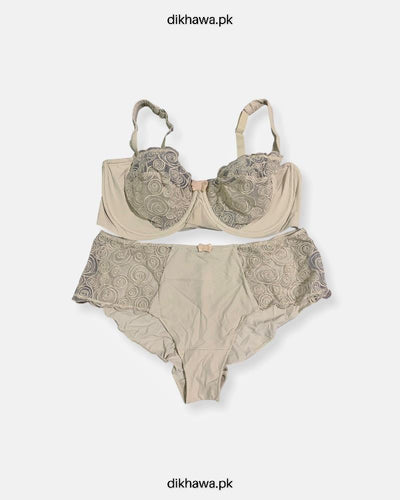 Sexy Bridal Net Lingerie Bra Panty Set - Rose Bra Panty Set - Grey- 2021