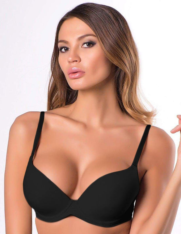 Black Pushup Bra - Single Padded Underwired Bra - Flourish - FL972
