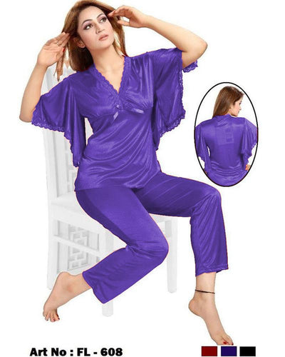 Purple Nighty - FL-608 - Flourish 2 Piece Nightwear