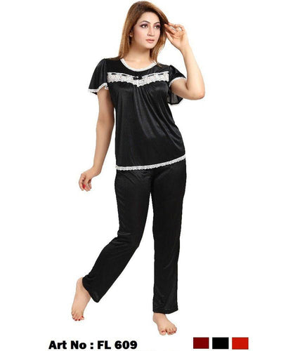 Black Nighty - FL-609 - Flourish 2 Piece Nightwear