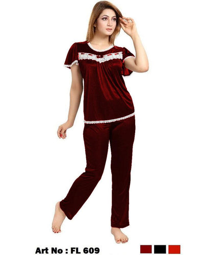 Maroon Nighty - FL-609 - Flourish 2 Piece Nightwear