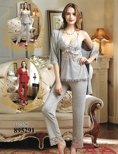 3 Pcs Slik Ladies Nightwear - Grey